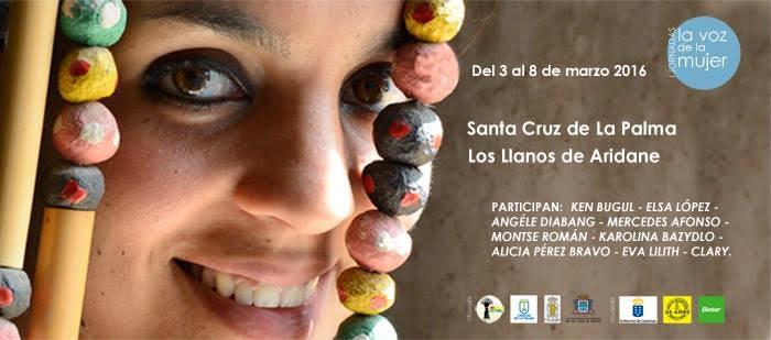 Cartel del encuentro La voz de la mujer, cine y debate, que se celebrará en marzo de 2016 en la isla de La Palma.