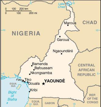 Situado en el Golfo de Guinea, Camerún tiene una extensísima frontera con Nigeria, Chad y República Centroafricana. Al sur, sus vecinos son Guinea Ecuatorial, Gabón y Congo Brazaville.