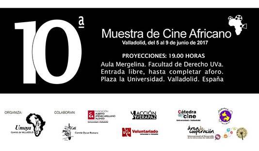Cartel de la X Muestra de Cine Africano de Valladolid, que tendrá lugar del 5 al 9 de junio de 2017 en la Facultad de Derecho de la UVa.