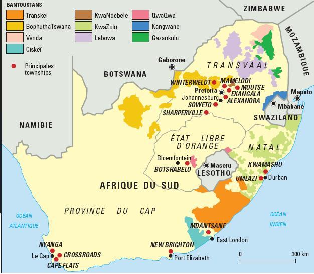 Mapa de los bantustantes de Sudáfrica