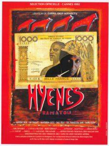 Cartel original de la película Hyènes, estrenada en Cannes en 1992. Film poster © DR