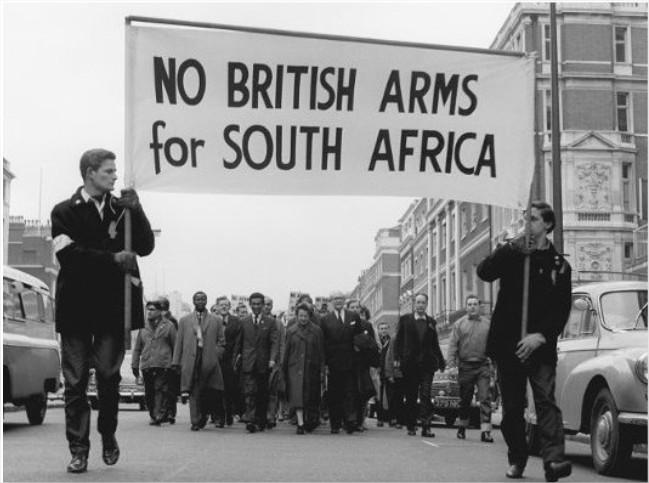manifestación contra el Apartheid en Reino Unido.